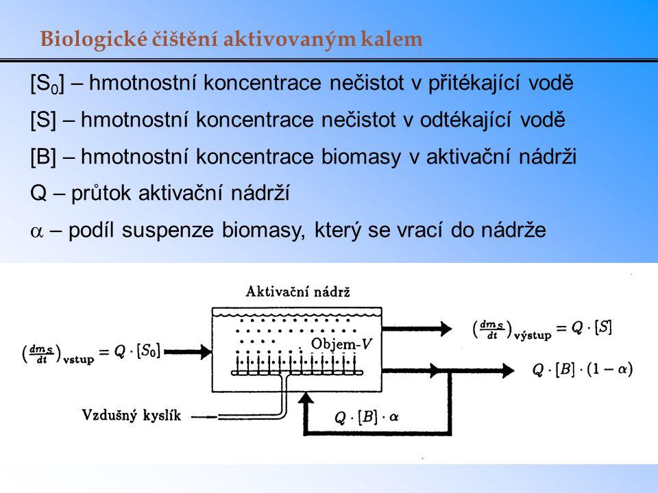 Biologické čištění aktivovaným kalem [S 0 ] – hmotnostní koncentrace nečistot v přitékající vodě [S] – hmotnostní koncentrace nečistot v odtékající vo