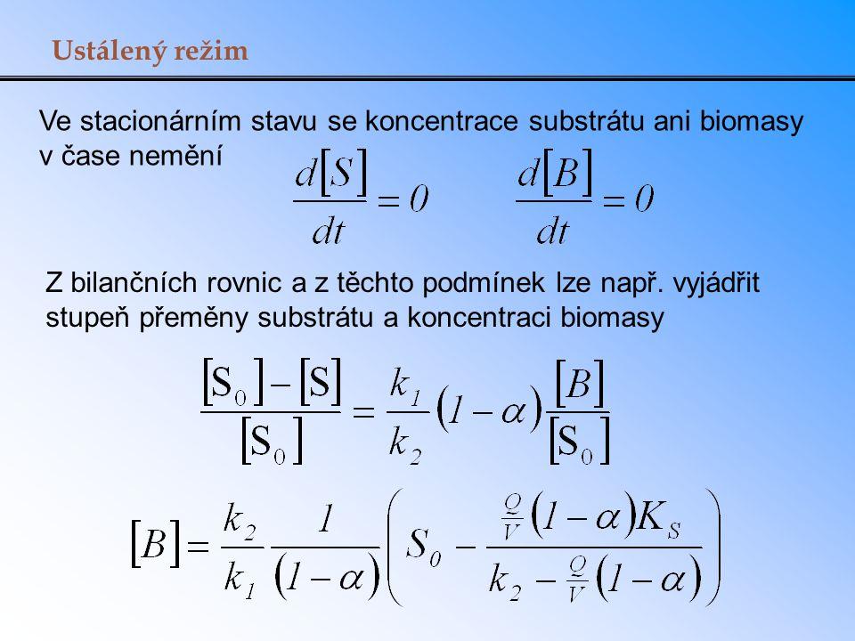 Ustálený režim Ve stacionárním stavu se koncentrace substrátu ani biomasy v čase nemění Z bilančních rovnic a z těchto podmínek lze např. vyjádřit stu