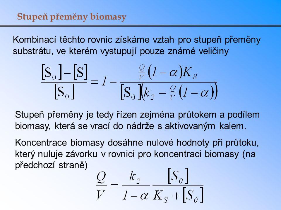 Stupeň přeměny biomasy Kombinací těchto rovnic získáme vztah pro stupeň přeměny substrátu, ve kterém vystupují pouze známé veličiny Stupeň přeměny je