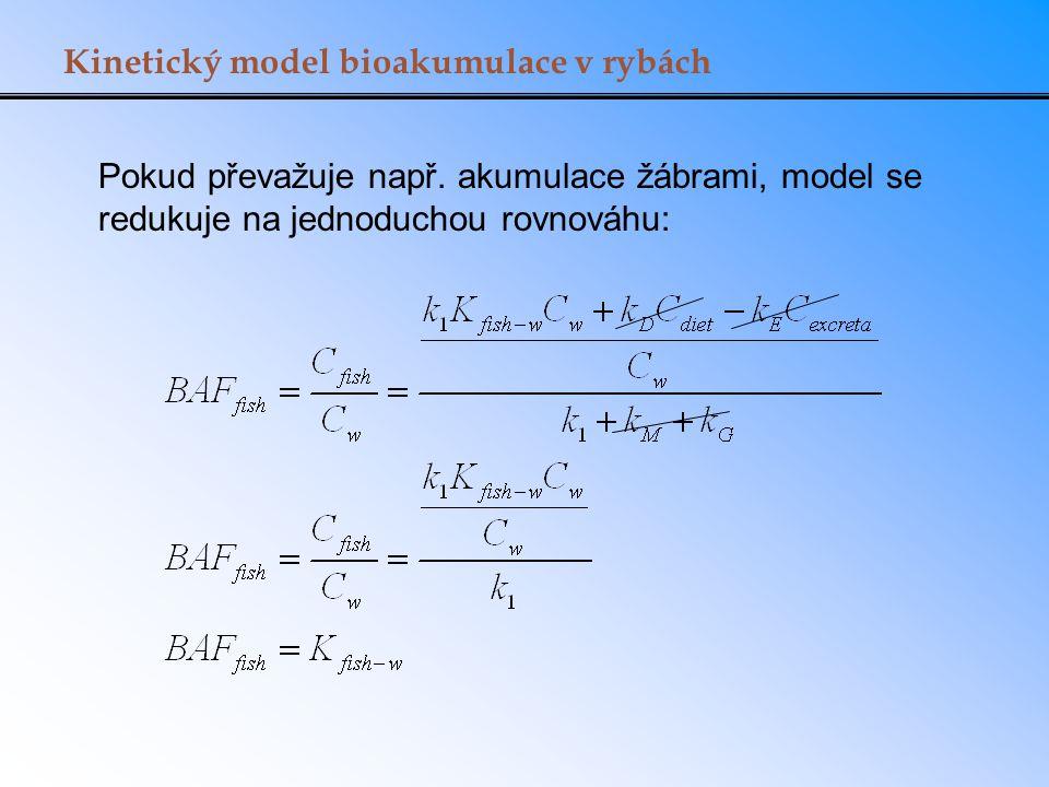 Kinetický model bioakumulace v rybách Pokud převažuje např. akumulace žábrami, model se redukuje na jednoduchou rovnováhu:
