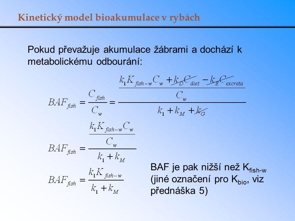 Kinetický model bioakumulace v rybách Pokud převažuje akumulace žábrami a dochází k metabolickému odbourání: BAF je pak nižší než K fish-w (jiné označ