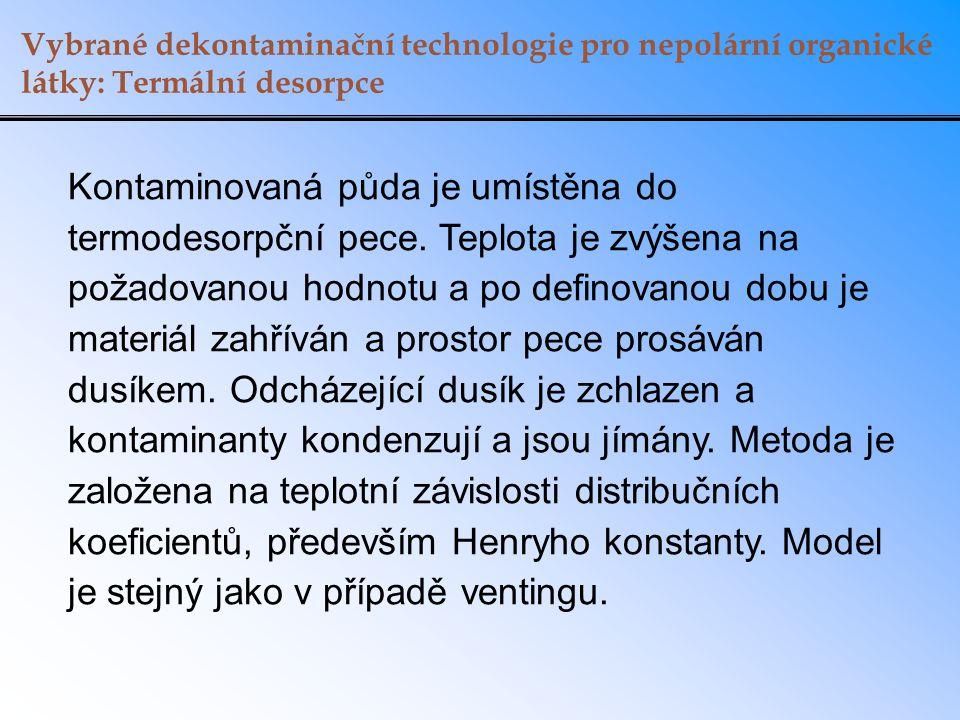 Vybrané dekontaminační technologie pro nepolární organické látky: Termální desorpce Kontaminovaná půda je umístěna do termodesorpční pece. Teplota je