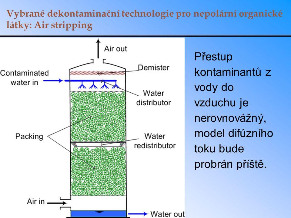 Vybrané dekontaminační technologie pro nepolární organické látky: Air stripping Přestup kontaminantů z vody do vzduchu je nerovnovážný, model difúzníh