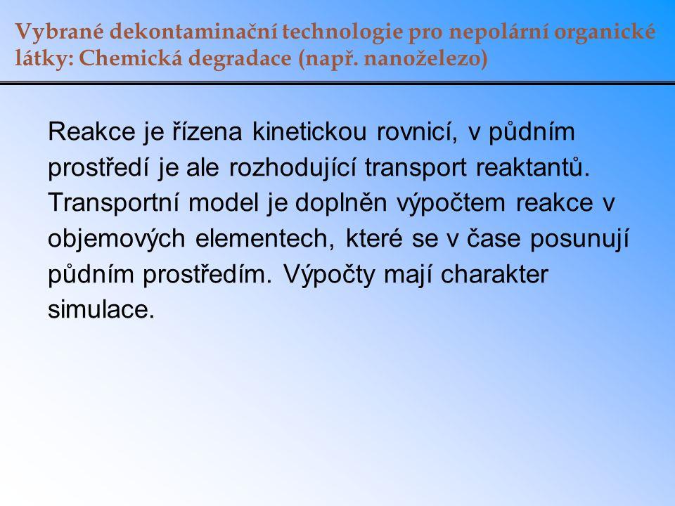 Vybrané dekontaminační technologie pro nepolární organické látky: Chemická degradace (např. nanoželezo) Reakce je řízena kinetickou rovnicí, v půdním