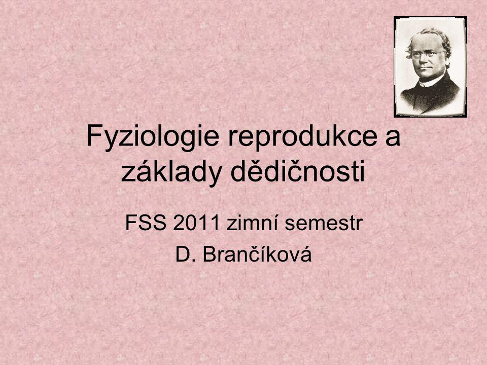 Fyziologie reprodukce a základy dědičnosti FSS 2011 zimní semestr D. Brančíková