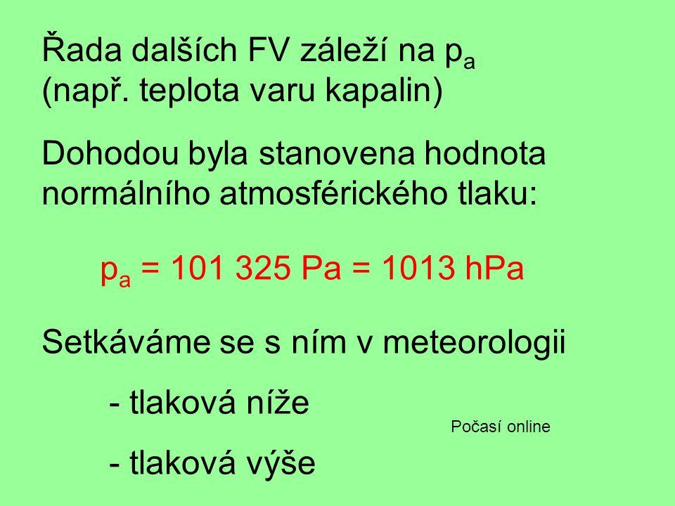 Dohodou byla stanovena hodnota normálního atmosférického tlaku: p a = 101 325 Pa = 1013 hPa Setkáváme se s ním v meteorologii - tlaková níže - tlaková