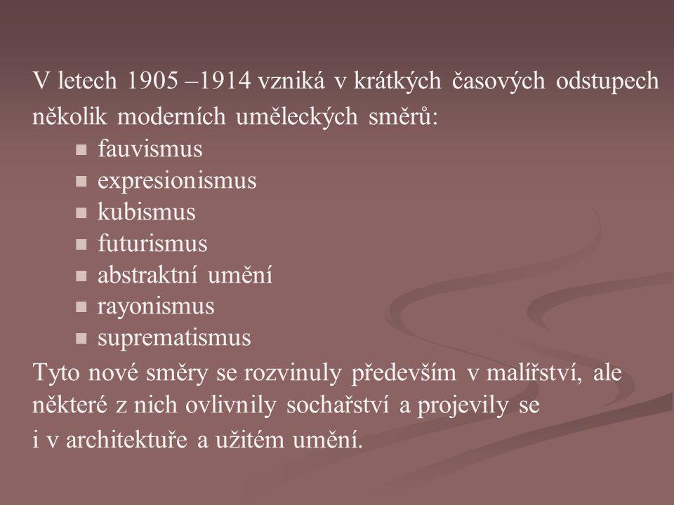 V letech 1905 –1914 vzniká v krátkých časových odstupech několik moderních uměleckých směrů: fauvismus expresionismus kubismus futurismus abstraktní umění rayonismus suprematismus Tyto nové směry se rozvinuly především v malířství, ale některé z nich ovlivnily sochařství a projevily se i v architektuře a užitém umění.