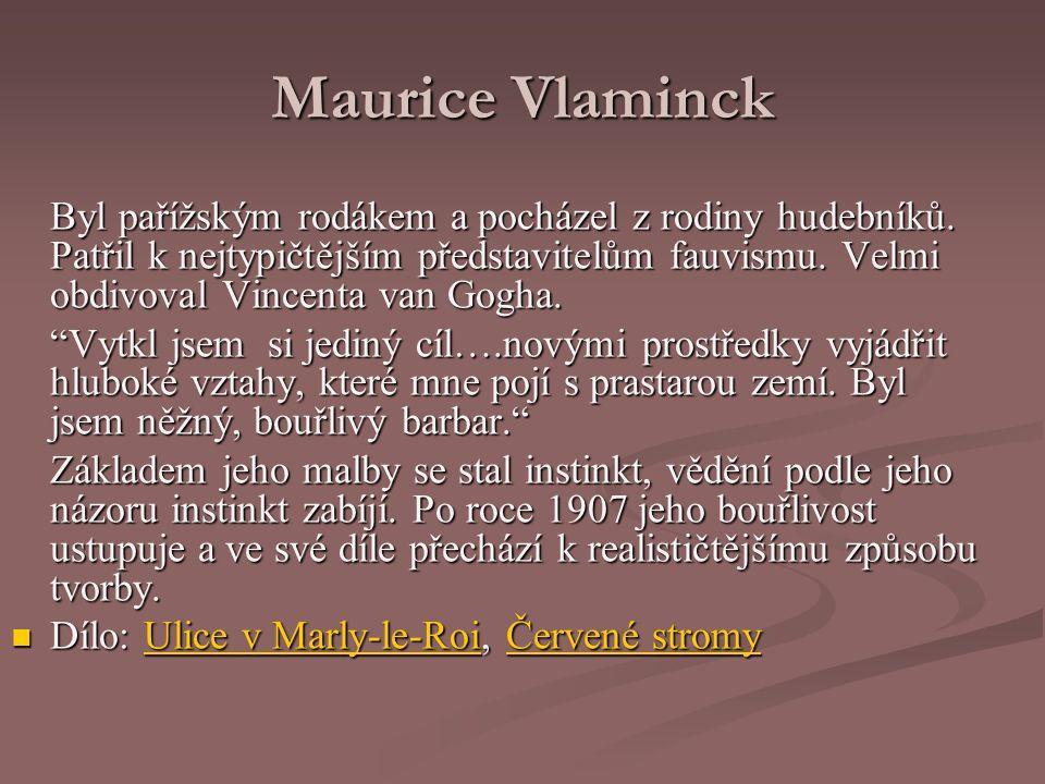 Maurice Vlaminck Byl pařížským rodákem a pocházel z rodiny hudebníků.