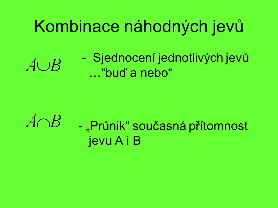 """Kombinace náhodných jevů - Sjednocení jednotlivých jevů …""""buď a nebo"""" - """"Průnik"""" současná přítomnost jevu A i B"""