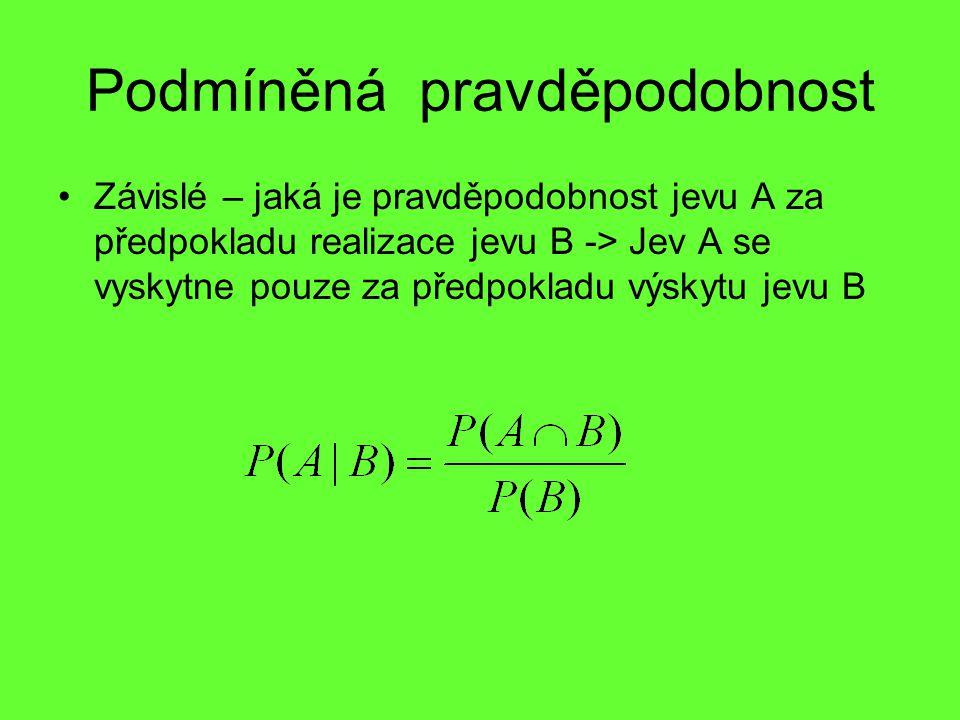 Podmíněná pravděpodobnost Závislé – jaká je pravděpodobnost jevu A za předpokladu realizace jevu B -> Jev A se vyskytne pouze za předpokladu výskytu j