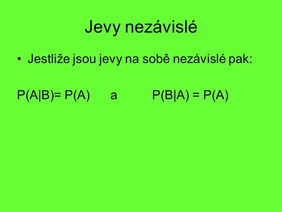 Jevy nezávislé Jestliže jsou jevy na sobě nezávislé pak: P(A|B)= P(A) a P(B|A) = P(A)
