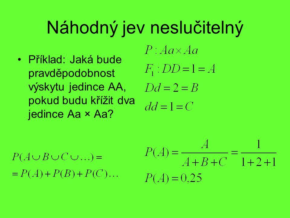 Náhodný jev neslučitelný Příklad: Jaká bude pravděpodobnost výskytu jedince AA, pokud budu křížit dva jedince Aa × Aa?