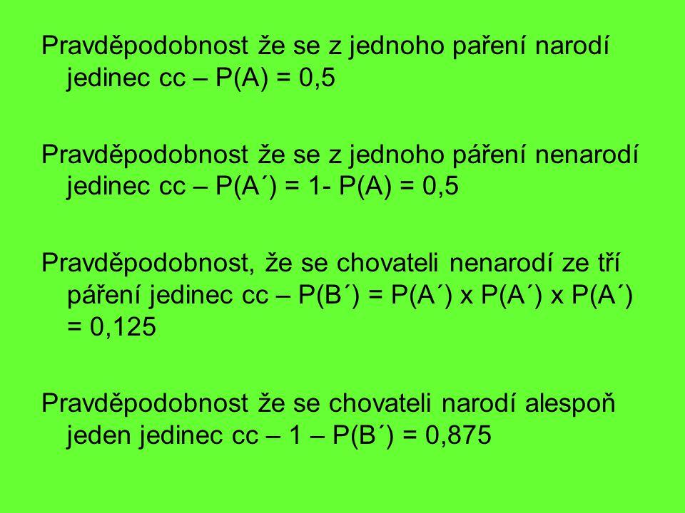 Pravděpodobnost že se z jednoho paření narodí jedinec cc – P(A) = 0,5 Pravděpodobnost že se z jednoho páření nenarodí jedinec cc – P(A´) = 1- P(A) = 0