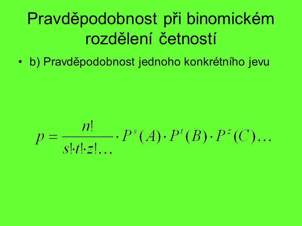 Pravděpodobnost při binomickém rozdělení četností b) Pravděpodobnost jednoho konkrétního jevu