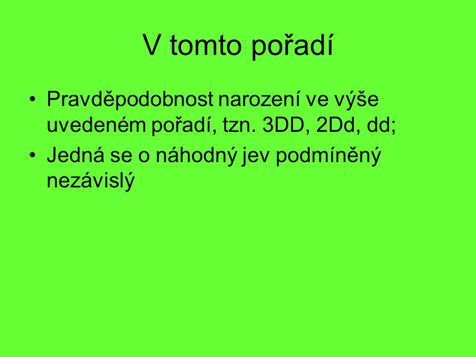 V tomto pořadí Pravděpodobnost narození ve výše uvedeném pořadí, tzn. 3DD, 2Dd, dd; Jedná se o náhodný jev podmíněný nezávislý