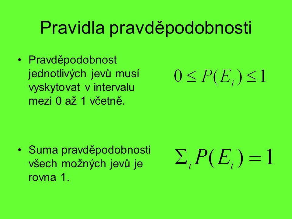 Pravidla pravděpodobnosti Pravděpodobnost jednotlivých jevů musí vyskytovat v intervalu mezi 0 až 1 včetně. Suma pravděpodobnosti všech možných jevů j
