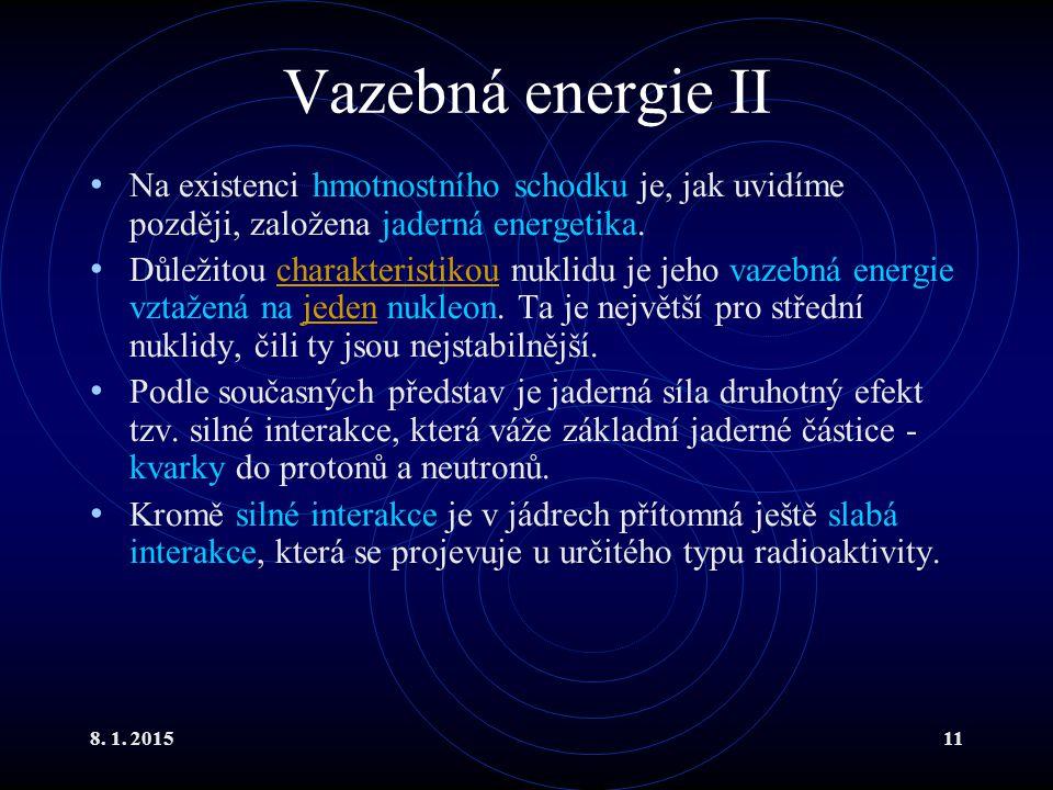 8. 1. 201511 Vazebná energie II Na existenci hmotnostního schodku je, jak uvidíme později, založena jaderná energetika. Důležitou charakteristikou nuk