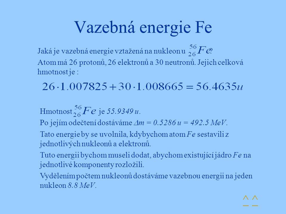 Vazebná energie Fe ^ ^^ ^ Jaká je vazebná energie vztažená na nukleon u ? Atom má 26 protonů, 26 elektronů a 30 neutronů. Jejich celková hmotnost je :