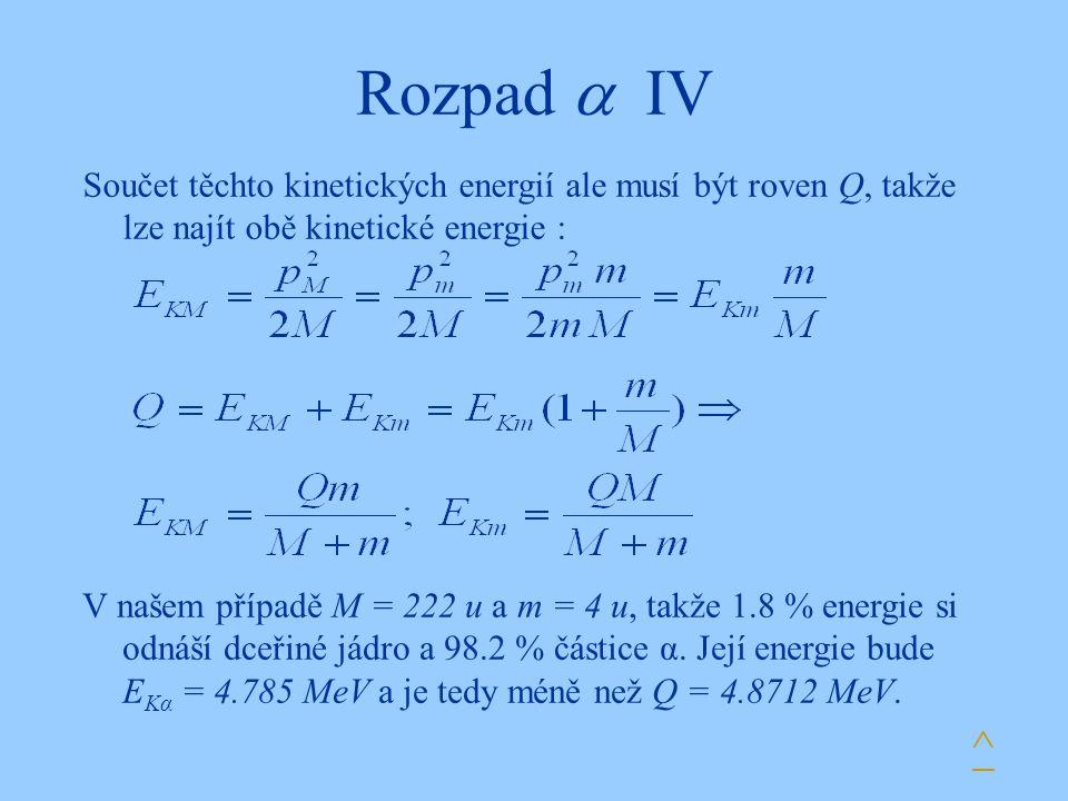 Rozpad  IV ^ Součet těchto kinetických energií ale musí být roven Q, takže lze najít obě kinetické energie : V našem případě M = 222 u a m = 4 u, tak