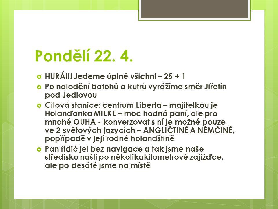 Pondělí 22. 4.  HURÁ!!! Jedeme úplně všichni – 25 + 1  Po nalodění batohů a kufrů vyrážíme směr Jiřetín pod Jedlovou  Cílová stanice: centrum Liber