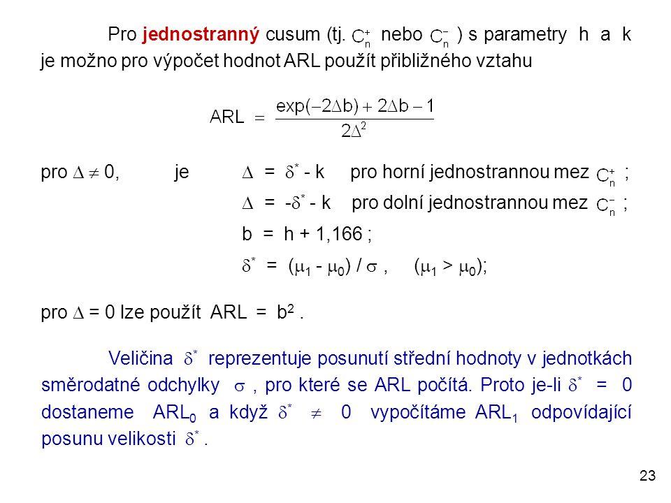 23 Pro jednostranný cusum (tj. nebo ) s parametry h a k je možno pro výpočet hodnot ARL použít přibližného vztahu pro   0,je  =  * - k pro horní j