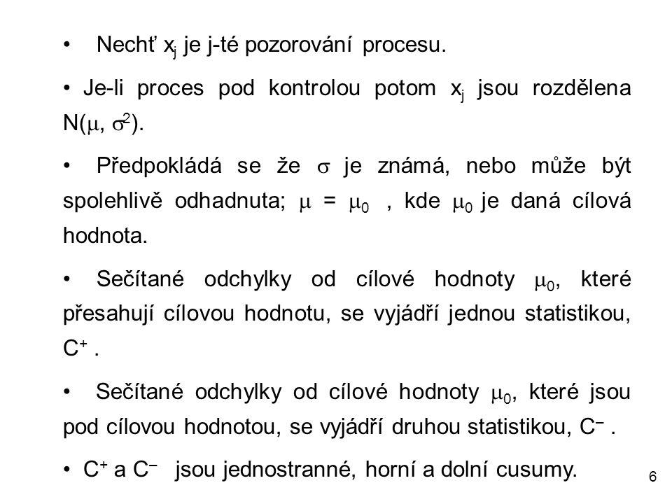 6 Nechť x j je j-té pozorování procesu. Je-li proces pod kontrolou potom x j jsou rozdělena N( ,  2 ). Předpokládá se že  je známá, nebo může být s
