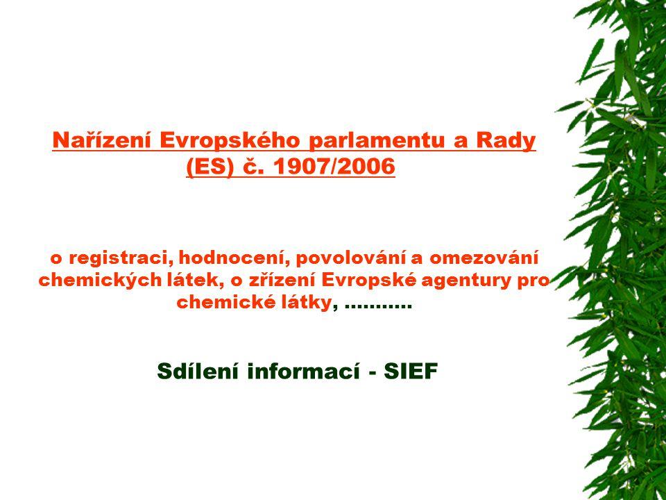 Sdílení informací - SIEF Doporučení pro následné uživatele: Následní uživatelé by si měli být vědomi skutečnosti, že přítomnost látek na seznamu předregistrovaných látek není zárukou, že tyto látky předregistrovali jejich současní dodavatelé, ani že dodavatelé tyto látky nakonec zaregistrují.