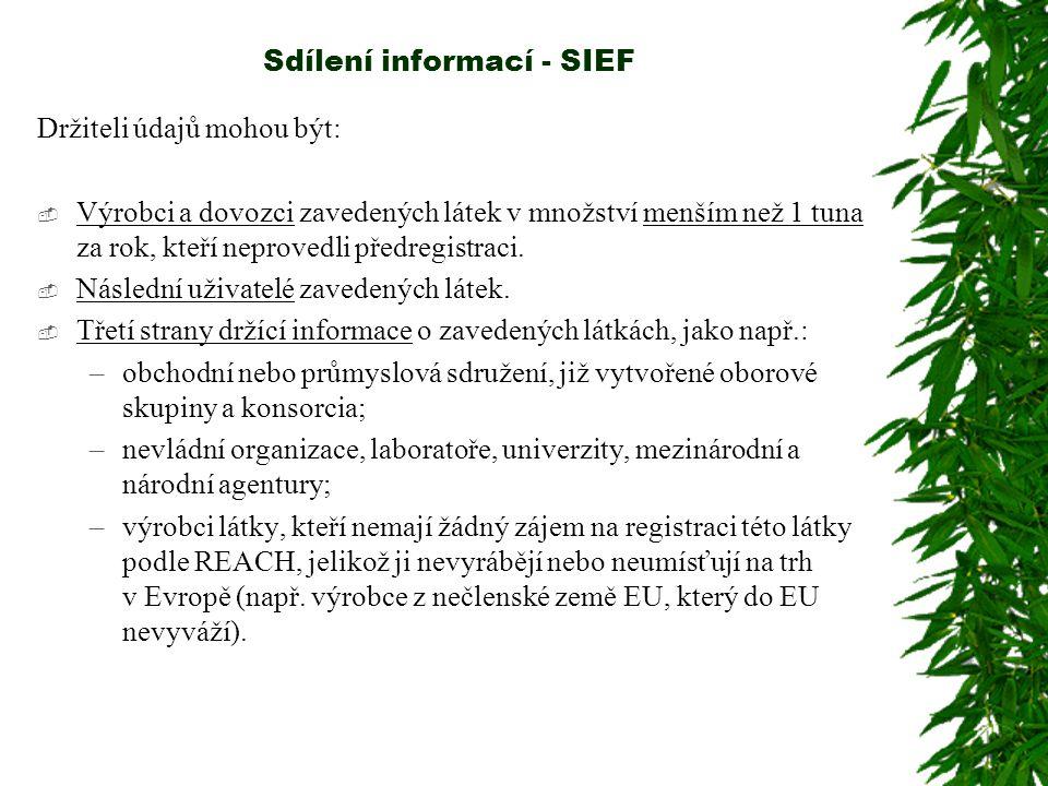 Sdílení informací - SIEF Držiteli údajů mohou být:  Výrobci a dovozci zavedených látek v množství menším než 1 tuna za rok, kteří neprovedli předregistraci.