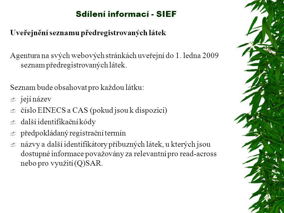Sdílení informací - SIEF Uveřejnění seznamu předregistrovaných látek Agentura na svých webových stránkách uveřejní do 1.