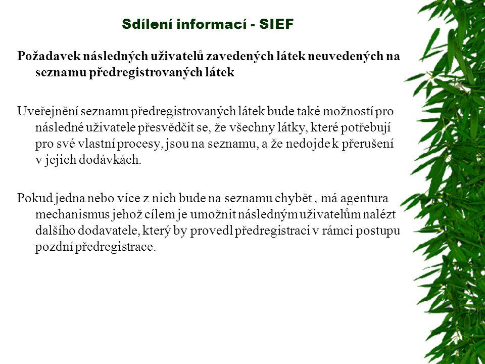 Sdílení informací - SIEF Požadavek následných uživatelů zavedených látek neuvedených na seznamu předregistrovaných látek Uveřejnění seznamu předregistrovaných látek bude také možností pro následné uživatele přesvědčit se, že všechny látky, které potřebují pro své vlastní procesy, jsou na seznamu, a že nedojde k přerušení v jejich dodávkách.