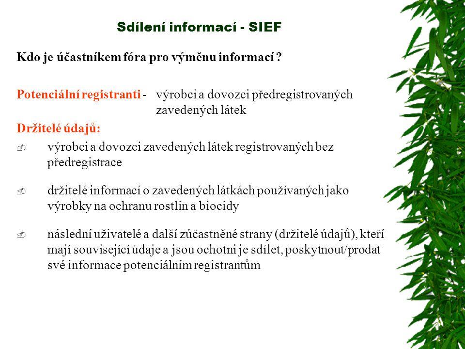 Sdílení informací - SIEF Role, práva a povinnosti těchto dvou skupin v rámci fóra se liší Všichni účastníci fóra:  budou reagovat na požadavky na informace od ostatních účastníků;  poskytnou ostatním účastníkům na vyžádání existující studie.