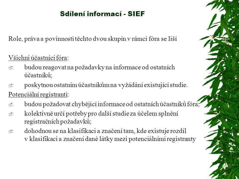 Sdílení informací - SIEF Držitelé údajů budou muset pro přístup do fóra dostatečně identifikovat látku, ke které nabízejí údaje.