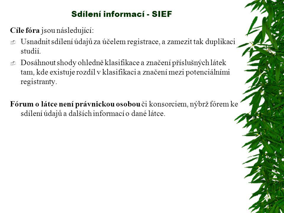 Sdílení informací - SIEF Doporučení: Potenciální registranti by měli na zformování fóra pracovat co nejdříve a zajistit si tak dostatečný čas na organizaci sdílení údajů a přípravu registračních dokumentací, zejména pro látky vyráběné ve velkém o objemu s ohledem na registrační termín 30.