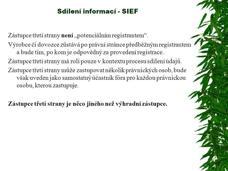 """Sdílení informací - SIEF """"Držitelé údajů Jakákoli osoba držící informace/údaje související se zavedenou látkou, která je ochotná tyto informace/údaje sdílet, se může přihlásit a předložit agentuře požadavek stát se účastníkem fóra pro tuto látku tak, že bude poskytovat informace ostatním členům fóra."""