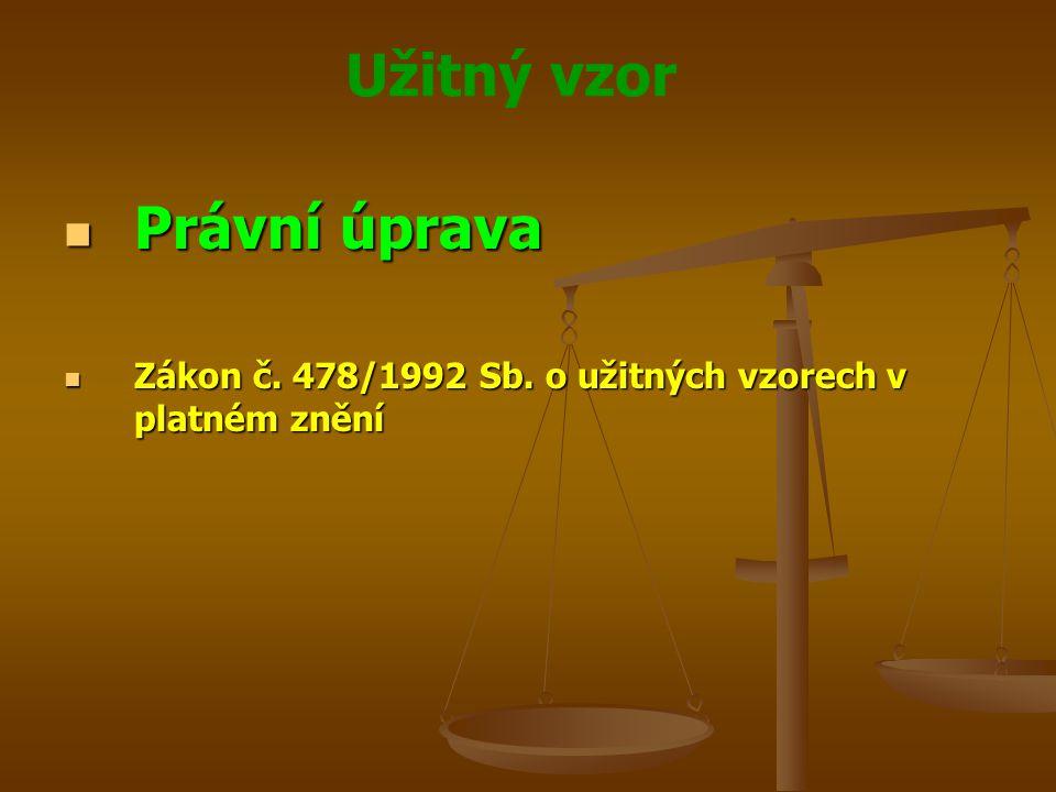 Užitný vzor Právní úprava Právní úprava Zákon č. 478/1992 Sb. o užitných vzorech v platném znění Zákon č. 478/1992 Sb. o užitných vzorech v platném zn