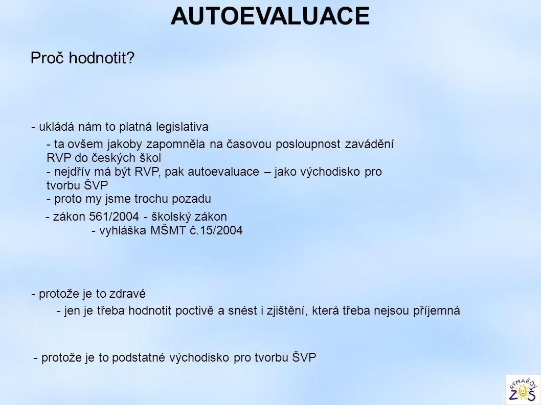AUTOEVALUACE Proč hodnotit? - ukládá nám to platná legislativa - ta ovšem jakoby zapomněla na časovou posloupnost zavádění RVP do českých škol - nejdř