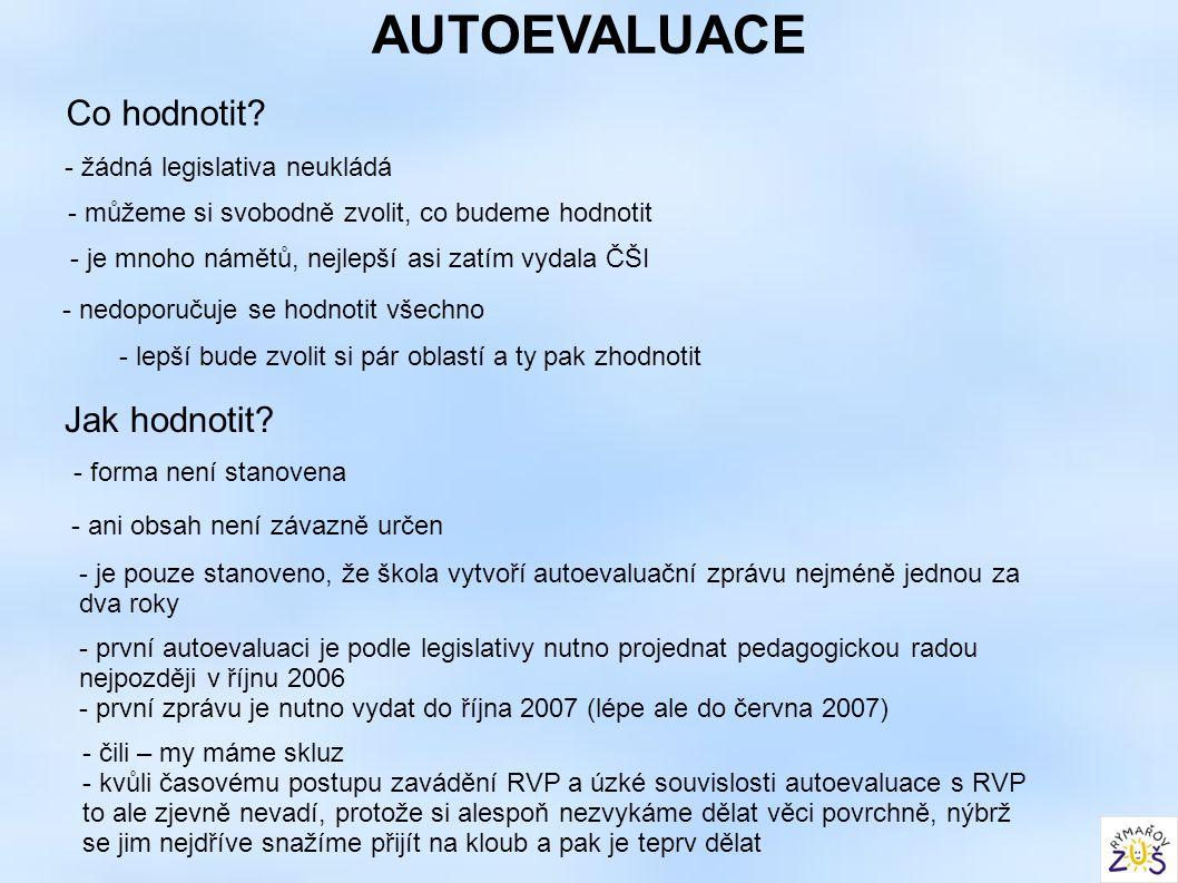 AUTOEVALUACE Co hodnotit? - žádná legislativa neukládá - můžeme si svobodně zvolit, co budeme hodnotit - je mnoho námětů, nejlepší asi zatím vydala ČŠ