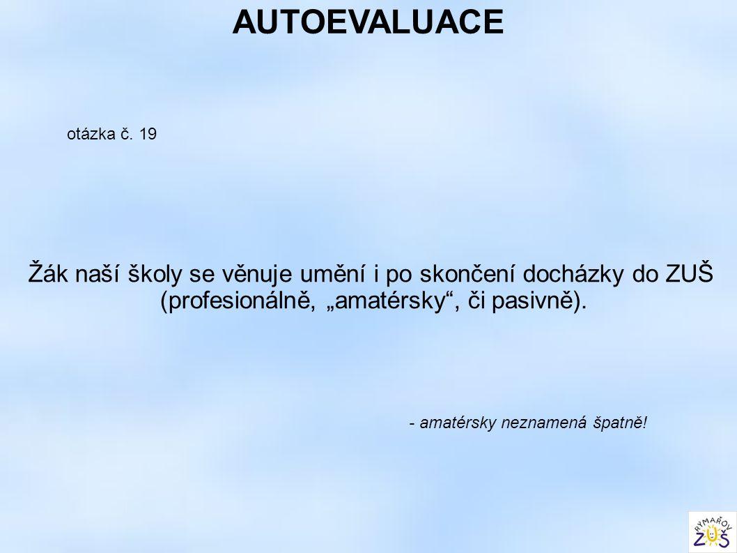 """AUTOEVALUACE otázka č. 19 Žák naší školy se věnuje umění i po skončení docházky do ZUŠ (profesionálně, """"amatérsky"""", či pasivně). - amatérsky neznamená"""