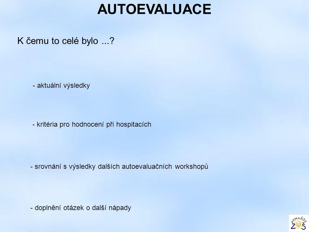 AUTOEVALUACE K čemu to celé bylo...? - kritéria pro hodnocení při hospitacích - srovnání s výsledky dalších autoevaluačních workshopů - aktuální výsle