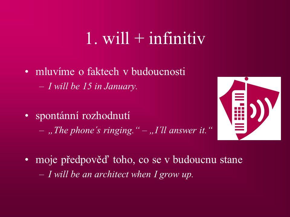 1.will + infinitiv mluvíme o faktech v budoucnosti –I will be 15 in January.