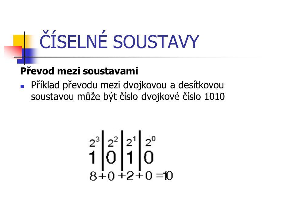 ČÍSELNÉ SOUSTAVY Převod mezi soustavami Příklad převodu mezi dvojkovou a desítkovou soustavou může být číslo dvojkové číslo 1010