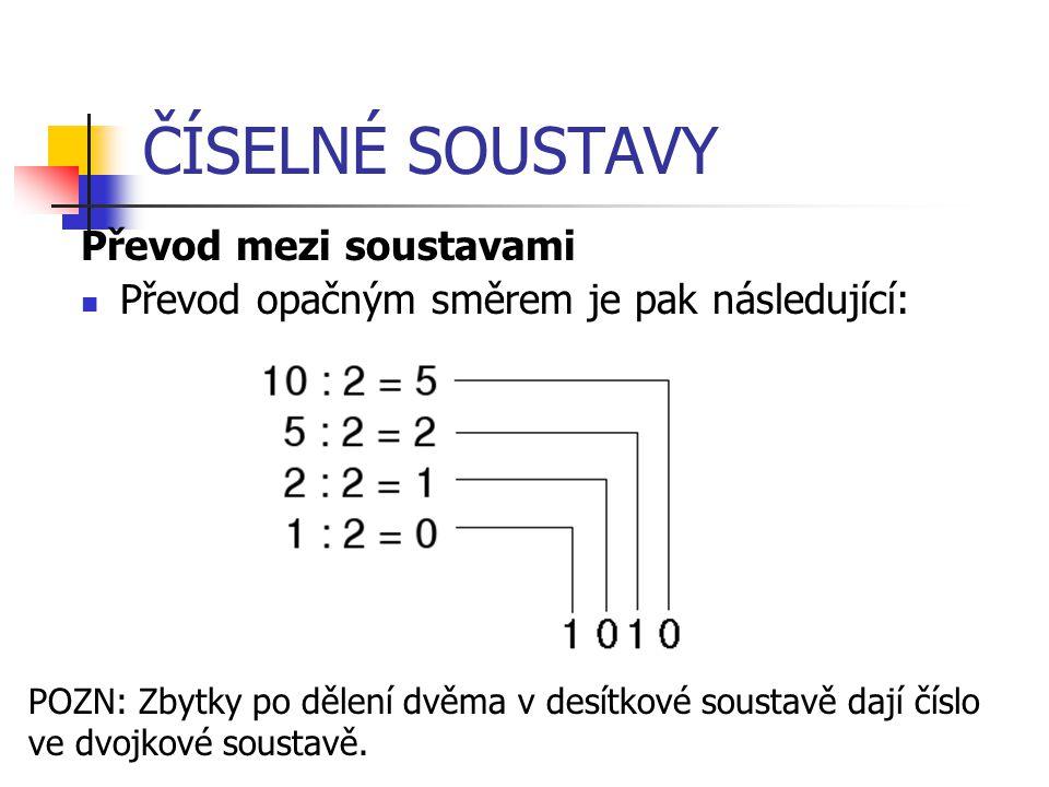 ČÍSELNÉ SOUSTAVY Převod mezi soustavami Převod opačným směrem je pak následující: POZN: Zbytky po dělení dvěma v desítkové soustavě dají číslo ve dvojkové soustavě.