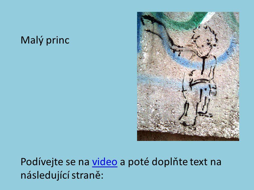 Malý princ Podívejte se na video a poté doplňte text na následující straně:video