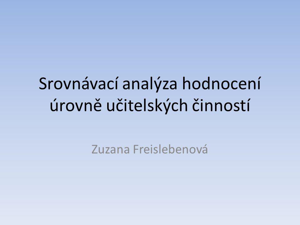 Srovnávací analýza hodnocení úrovně učitelských činností Zuzana Freislebenová