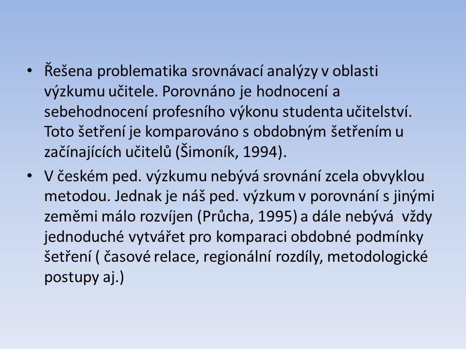 Řešena problematika srovnávací analýzy v oblasti výzkumu učitele. Porovnáno je hodnocení a sebehodnocení profesního výkonu studenta učitelství. Toto š