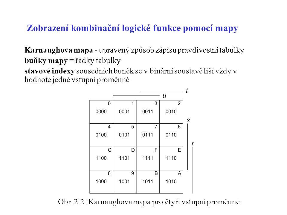 Zobrazení kombinační logické funkce pomocí mapy Karnaughova mapa - upravený způsob zápisu pravdivostní tabulky buňky mapy = řádky tabulky stavové indexy sousedních buněk se v binární soustavě liší vždy v hodnotě jedné vstupní proměnné Obr.