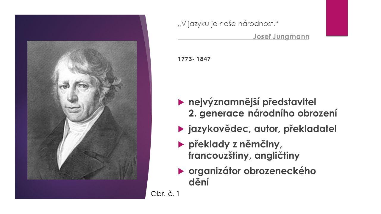 """""""V jazyku je naše národnost."""" Josef Jungmann 1773- 1847  nejvýznamnější představitel 2. generace národního obrození  jazykovědec, autor, překladatel"""