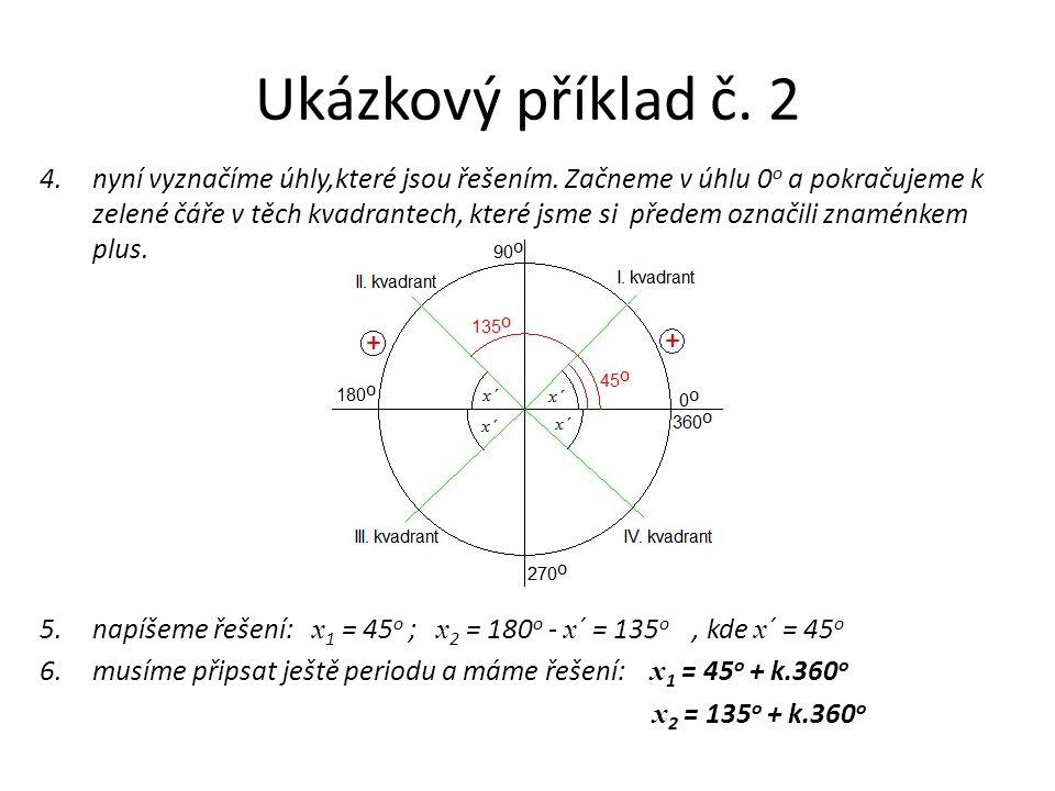Ukázkový příklad č. 2 4.nyní vyznačíme úhly,které jsou řešením. Začneme v úhlu 0 o a pokračujeme k zelené čáře v těch kvadrantech, které jsme si přede