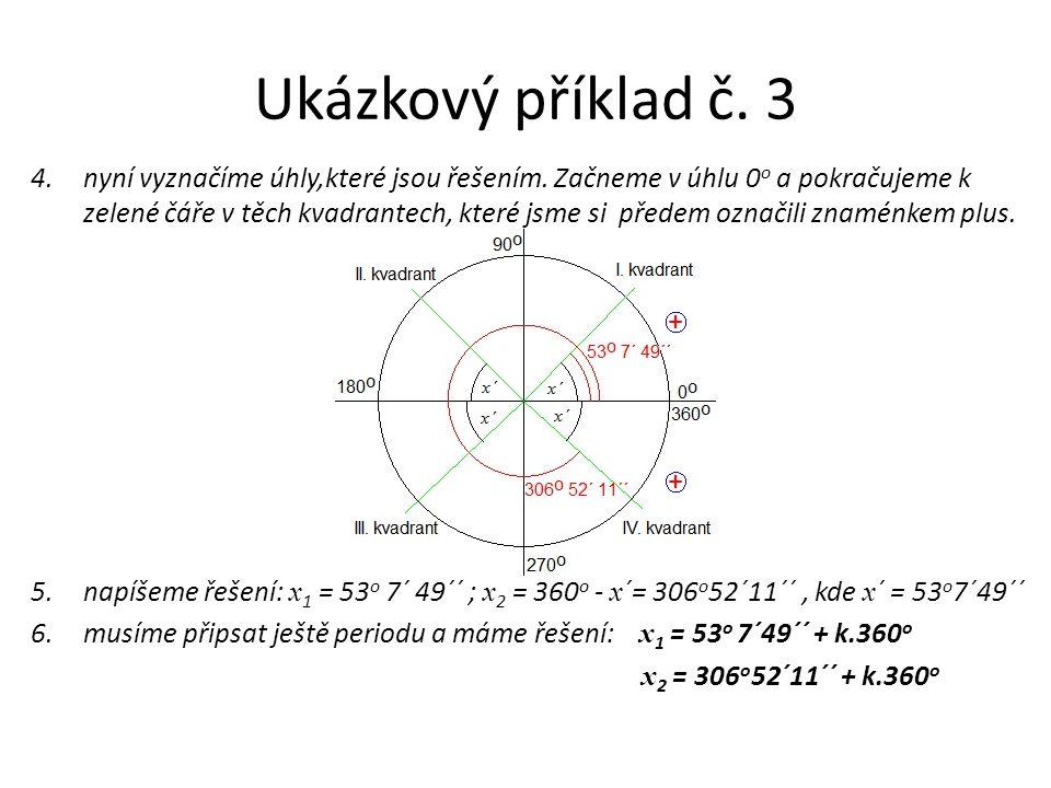 Ukázkový příklad č. 3 4.nyní vyznačíme úhly,které jsou řešením. Začneme v úhlu 0 o a pokračujeme k zelené čáře v těch kvadrantech, které jsme si přede