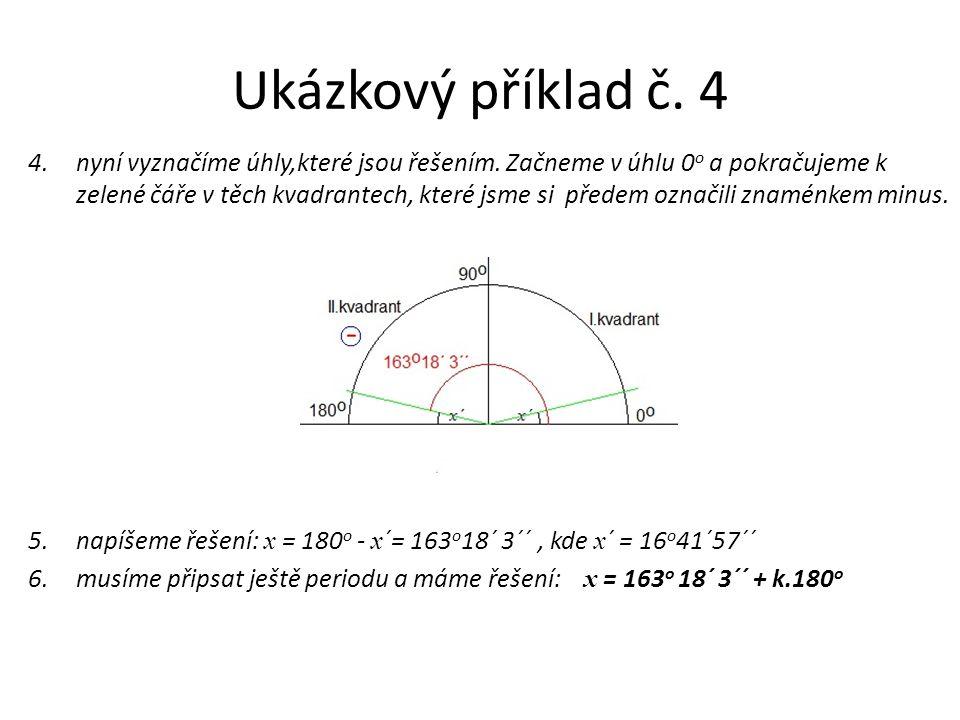 Ukázkový příklad č. 4 4.nyní vyznačíme úhly,které jsou řešením. Začneme v úhlu 0 o a pokračujeme k zelené čáře v těch kvadrantech, které jsme si přede